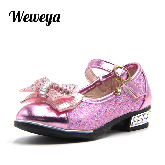 Weweya Children Princess PU Leather Sequins Shoes Flower Girl Wedding Party  Kids Dress Shoes for Girls Pink   Silver  Golden 861850df3926