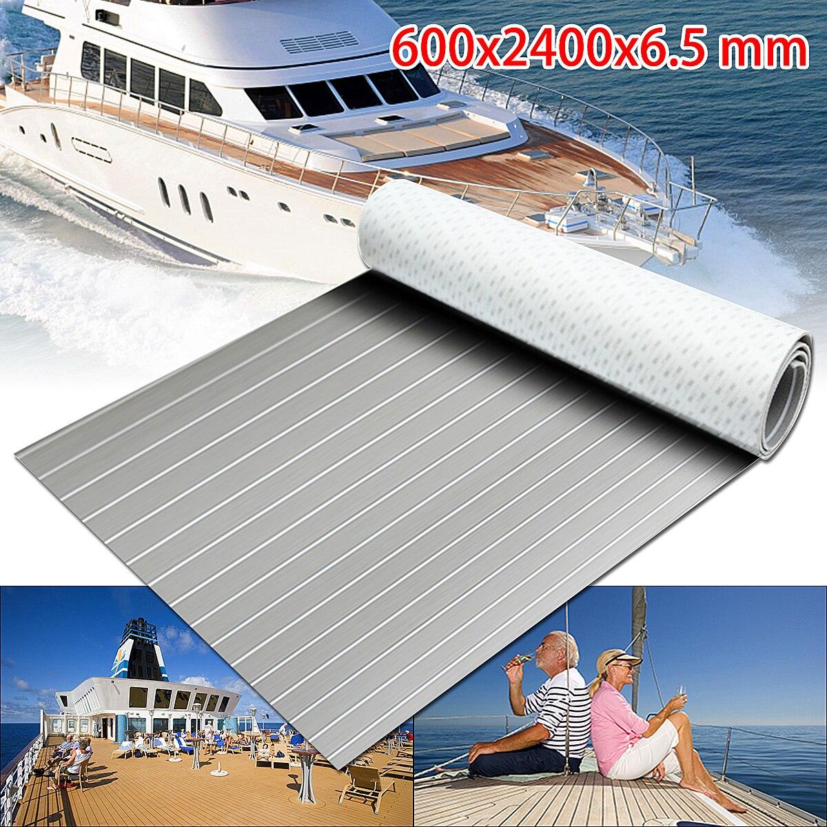 1PC Self-Adhesive 600x2400x6.5mm Marine Flooring Faux Teak EVA Foam Faux Boat Decking Sheet Accessories Marine Grey White