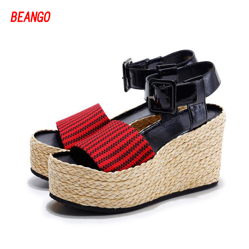 BEANGO summer new shoes peep toe wedges platform women sandals straw braid thick high heels classics mixed colors increased shoe lucyever women casual peep toe shoes thick platform creepers sandals woman fashion wedges high heels stars summer shoes