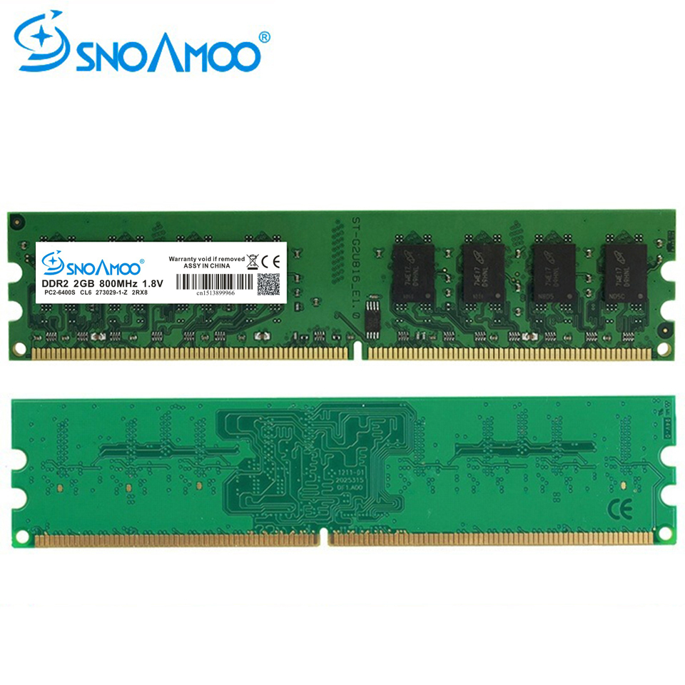 SNOAMOO Used DDR2 Desktop PC 2GB RAM 800MHz 667Mhz PC2-6400U CL5 240-Pin 1.8V For Intel Compatible Computer second hand Memory
