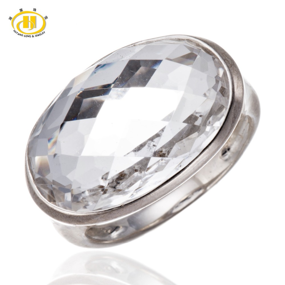 Hutang Huge White Topaz Checkerboard Cut Solid 925 Sterling Silver Ring Fine Jewelry