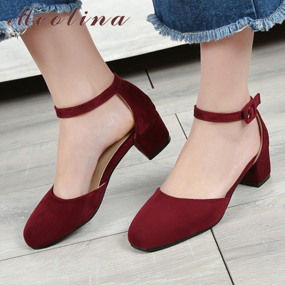Meotina Women Shoes High Heels Ankle Strap Ladies Pumps 2017 Casual Mid Thick Heels Two Piece Pumps Red Shoes Size 33-42 Sapatos