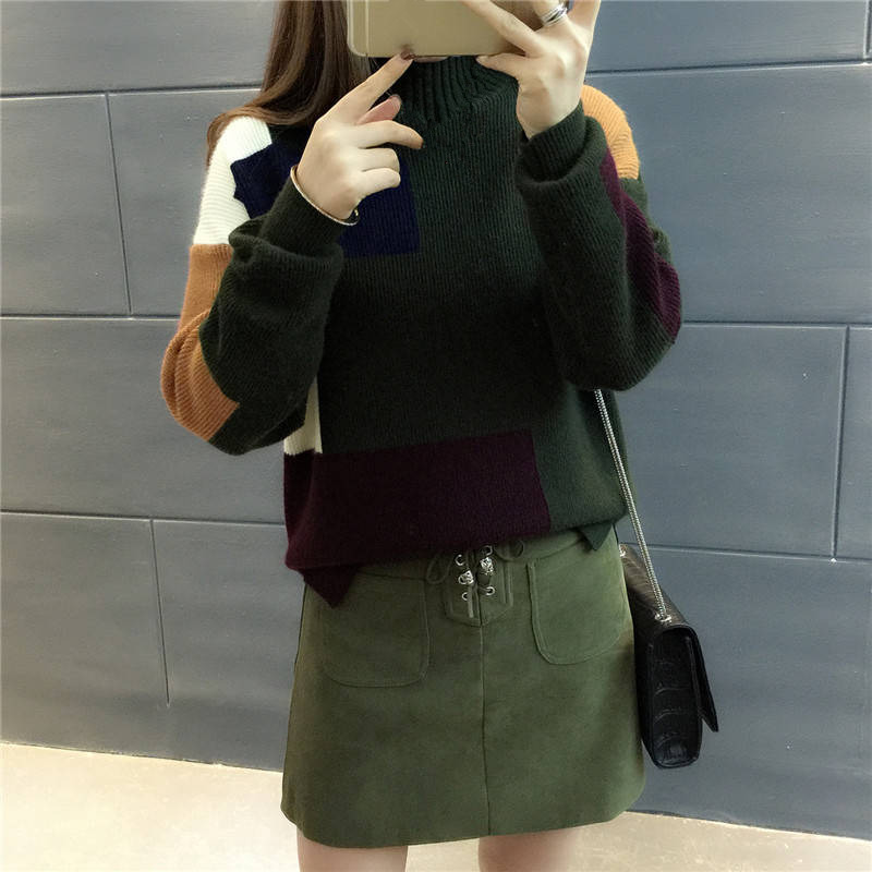 18 Women Sweaters And Pullovers Elegant Turtleneck Sweater Women Jumper Autumn Mixed Colors Knitted Pullover Pull Femme C3682 9