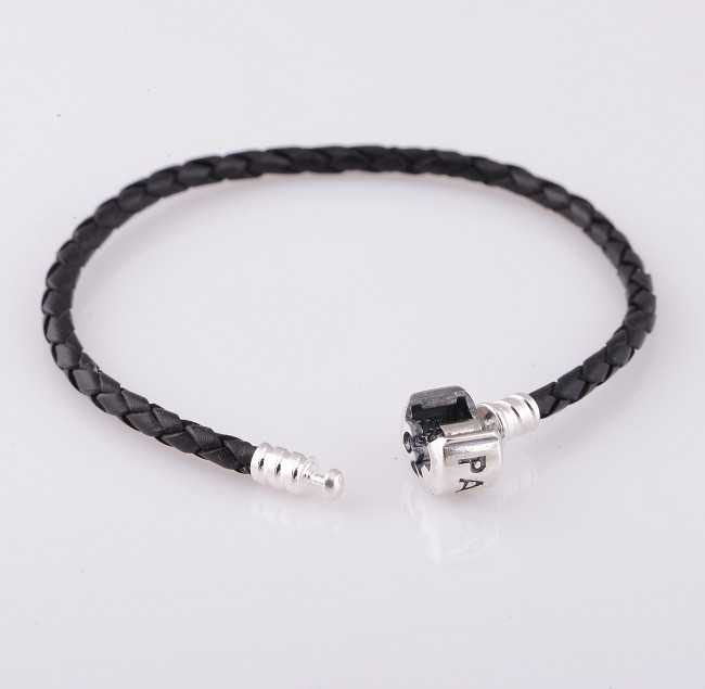 PL001-Compatible-With-Pandora-Style-Charms-European-Black-Leather-Starter-Bracelet-Jewelry-with-925-Sterling-Silver