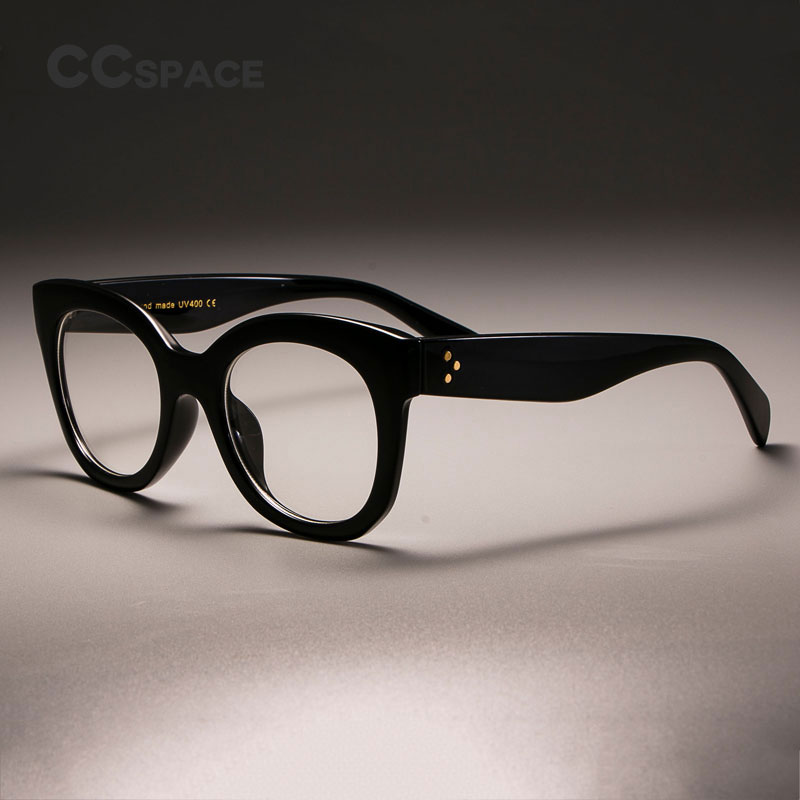 CCSPACE Ladies Square Glasses Frames For Women Female Rivet Shades Cat Eye Optical Computer Glasses Fashion Eyewear