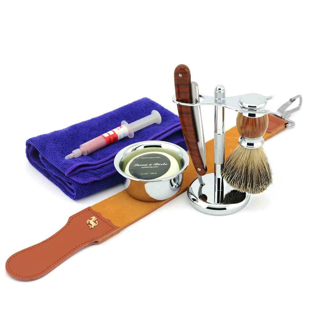 ZY Men Shaving Set Straight Razor Folding Cut Throat Knife Sharpening Strop Badger Hair Brush Stand Holder Shaving Soap Bowl Mug men shaving straight razor cut throat knife gold dollar 400 1500 sharpening whetstone stone synthetic nylon brush strop