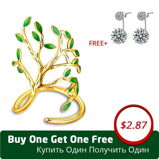 Uloveido In Ottone e Verde Dello Smalto Dell'albero di Vita Anelli per Le Donne