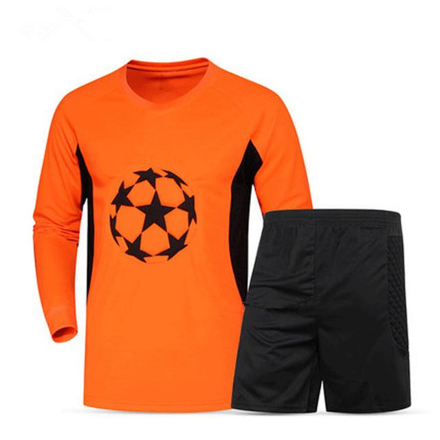 New Men Soccer Goalkeeper Jerseys survetement Football 2017 Chest Sponge Sports Safty Shirts Goal keeper clothes DIY Number Name