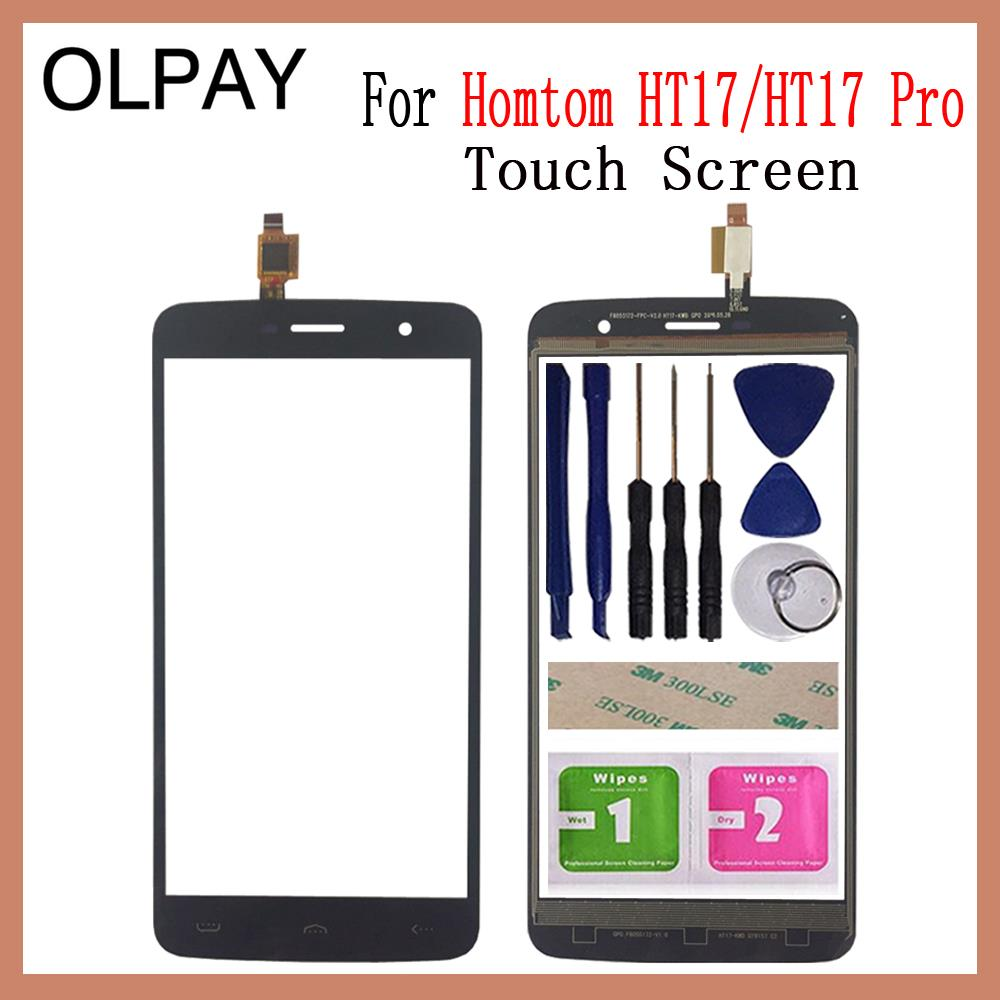 OLPAY 5.5'' For Homtom HT17 HT17 Pro Touch Screen Glass Digitizer Panel Touch Screen Front Glass Lens Sensor Free Adhesive+Wipes
