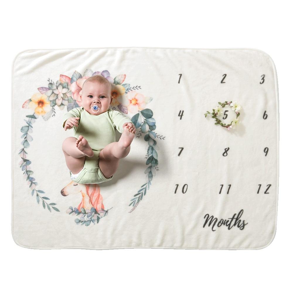 19 стильных детских ежемесячных одеял для девочек и мальчиков с цветочными крыльями, рамка для новорожденных, фон для фотосессии, фланелевый Рождественский олень