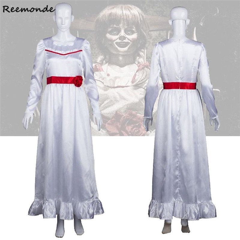 Movie Annabelle Cosplay Costumes Ghost Doll White Princess Dress Skirt For Women Girls Kids Halloween Carnival Uniforms Clothes