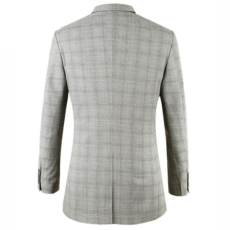 Masculino Gris Toturn Mode Casual Fit Slim Blazer Taille Marque Costume 2017 Plaid Veste Hommes Euro Mâle Conceptions ALR435cjq