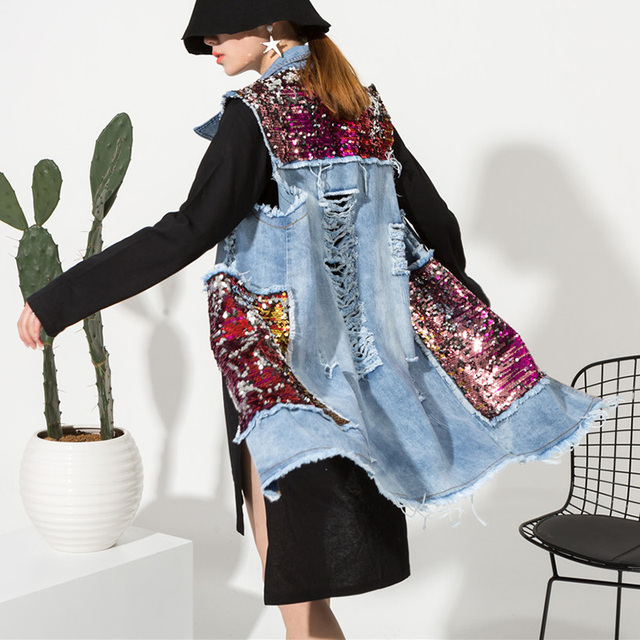 [soonyour] 2017 New Spring shinning Sequins Pockets Cowboy Vest Long Loose Coat jacket Women Fashion Tide HA06153M