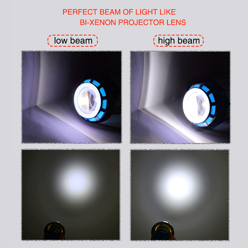 High Quality Motorcycle Bi xenon LED Projector High Low Beam Headlight Blue White Halo Ring Red Devil Eye Motorcycle Styling in Car Light Accessories from Automobiles Motorcycles