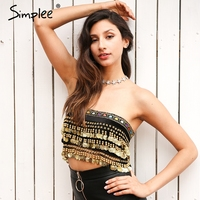 Simplee Tassel Beading Velvet Top Tees Summer 2017 Lace Up Punk Crop Top Women Sexy Gold