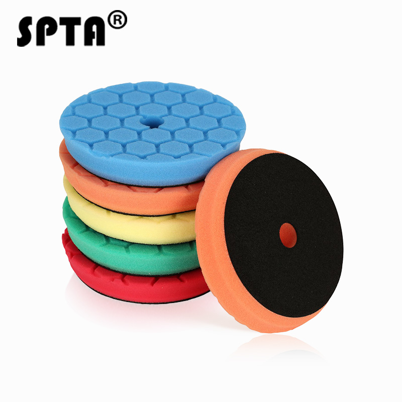 SPTA Waffle Sponge Car Buffing Polishing Pad Foam Auto Polishing Pads Wax Wheels Drill Set Auto Cleaning Polisher Tools 3 6 Inch