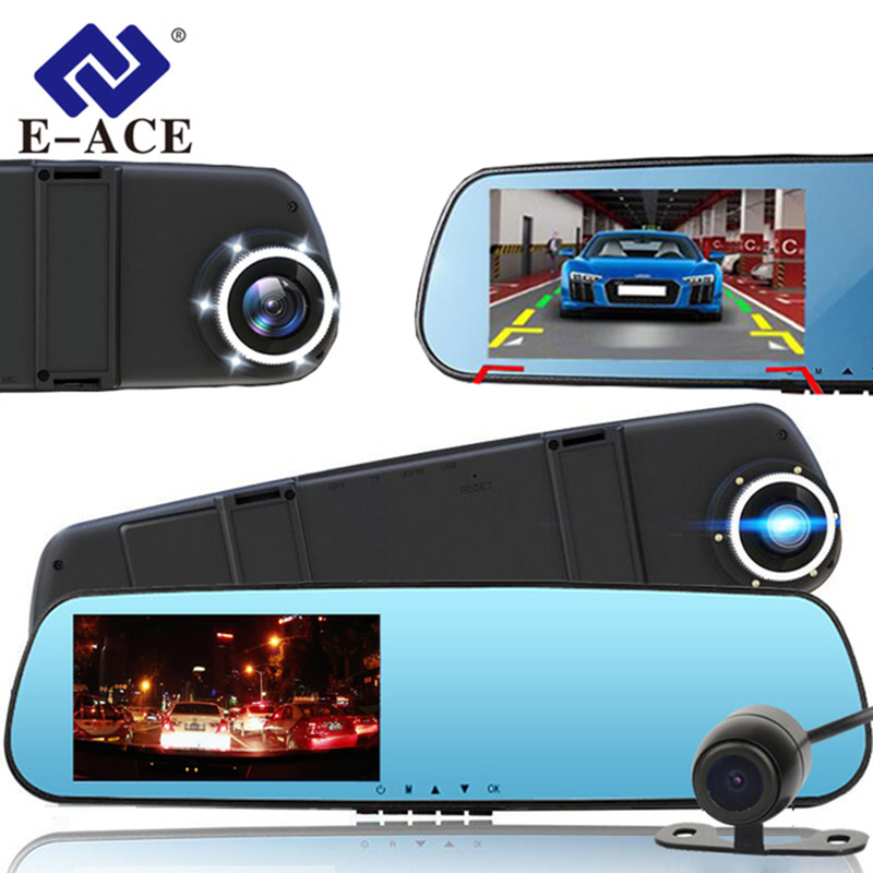 New E-ACE Full HD 1080P Dash Cam Car Dvr Camera Mirror With Dual Lens Video Recorder Auto Dvrs Rearview Cameras 6 Led Light