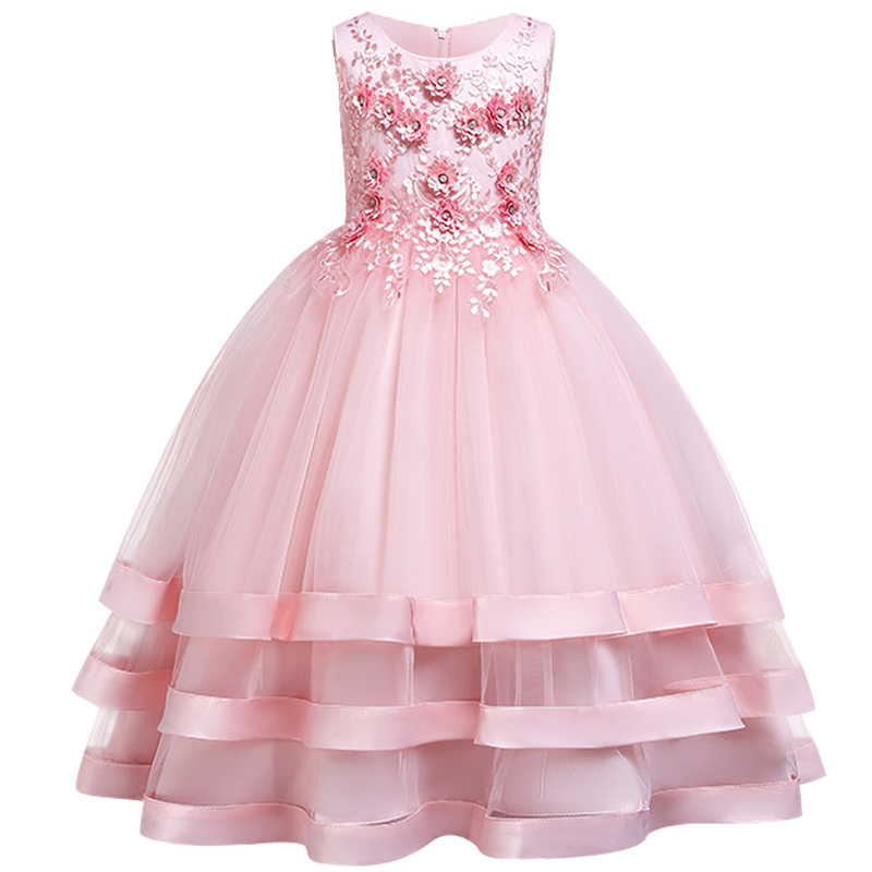 New-Children-elegant-Wedding-Dress-After-Short-Before-Mopping-the-floor-Long-Beading-embroidery-princess-Party (1)