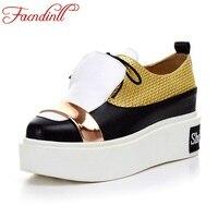 FACNDINLL Genuine Leather Women Pumps Shoes New Fashion Spring Summer Wedges Heels Platform Lace Up Shoes