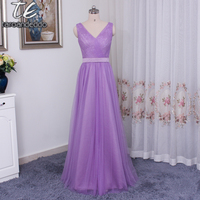 NEW Tulle Surplice V Neck Bridesmaid Dress With Lace Back VW360322 Wedding Party Dress Dress Formal