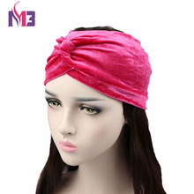 New Fashion Women Velvet Headband Stretch Hair Bands Elastic Plain Twist Turban