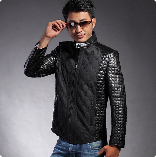 Hot selling genuine leather mens slim fit leather motorcycle jackets zipper the of man's of winter of clothing the skin HN021