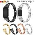 Assista Band Para Fitbit Carga 2 Substituição cinta Faixas de Relógio de Pulseira De Metal Alças Reguláveis para Fitbit charge2 com Strass