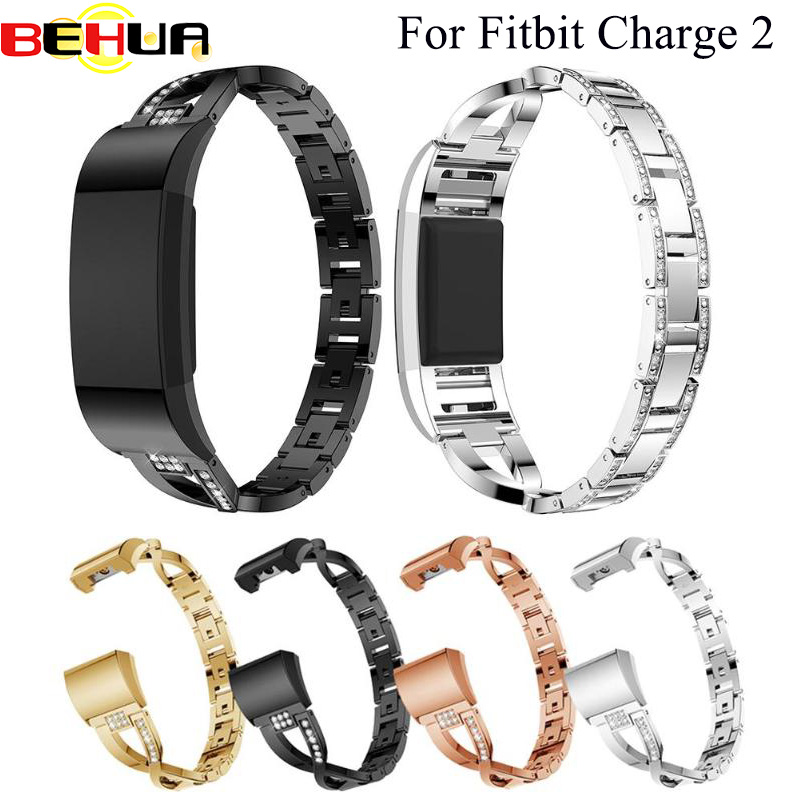 Watch Band For Fitbit Charge 2 Strap Replacement Metal Bracelet Adjustable Straps For Fitbit Charge2 Watch Bands With Rhinestone