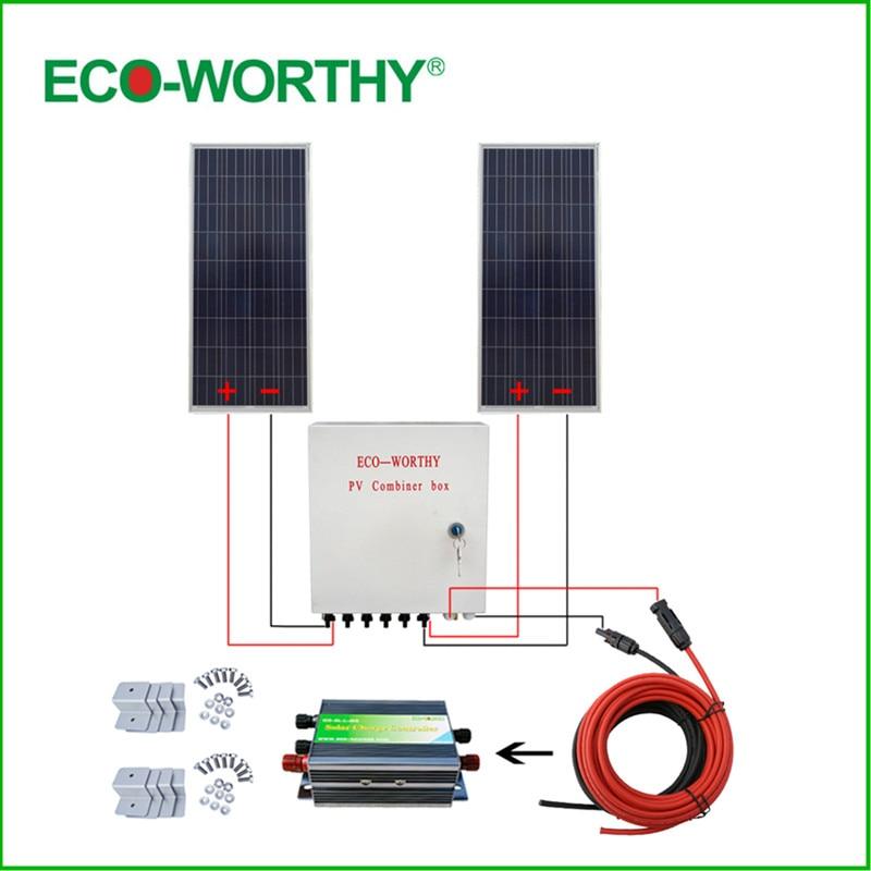 ECO WORTHY USA UK Stock 2x160W 300W 12V off Grid Poly Solar System w/ 45A Solar Controller Combiner Box