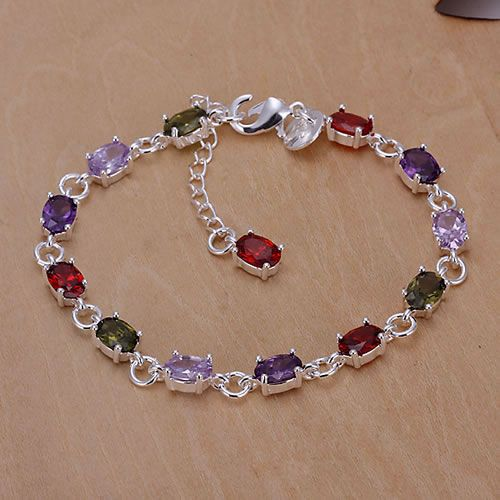 Free Shipping Wholesale silver plated bracelet for women silver plated fashion jewelry Colored stone braceletKN-H258