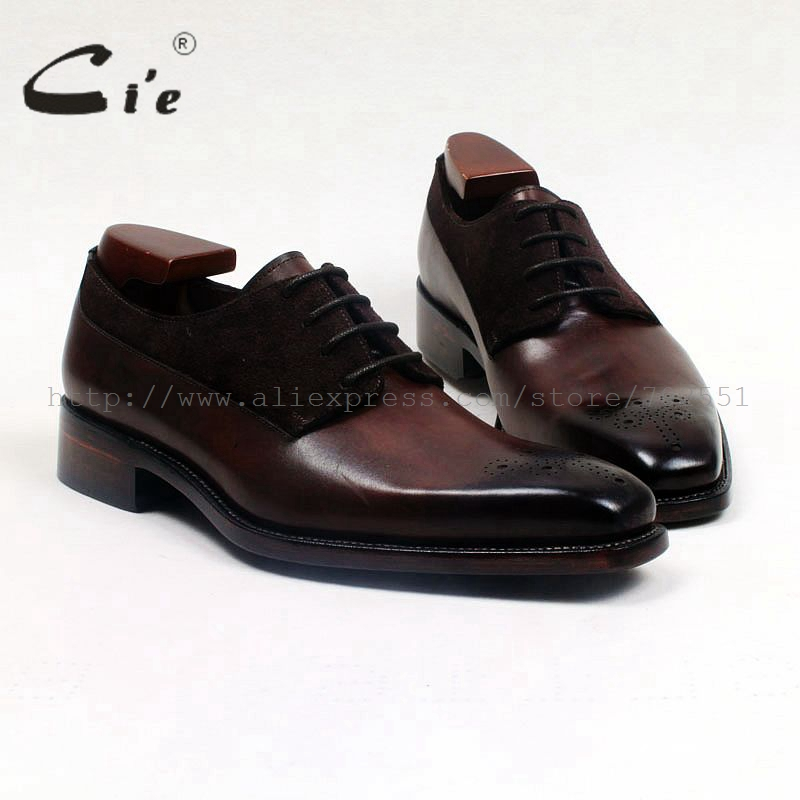 cie square toe medallion patina brown derby 100%genuine calf leather men shoe handmade leather suede mixed goodyear welted ox516