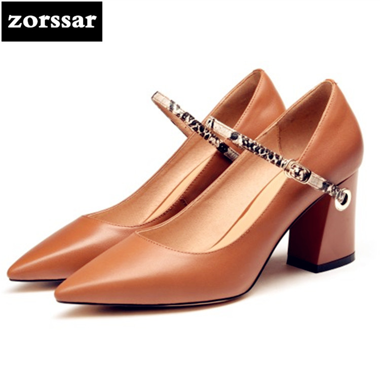 {Zorssar} Brand 2018 New Fashion chain women heels pumps Shallow thick heel Pointed toe Mary Jane High heels ladies shoes brown купить недорого в Москве