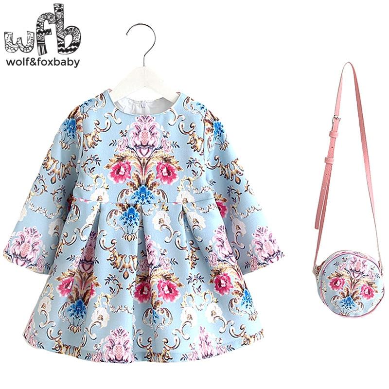 2-8years Dress+Bag/set Linen print dress for Baby Girl Summer Spring Fall Long-Sleeve Princess Blue backgroud palace style letter print long sleeve sweatshirt dress page 2