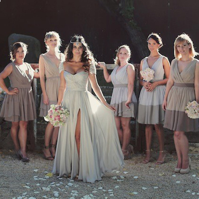 Long Silver Beach Wedding Dresses 2017 Y Cap Sleeve Side Split