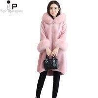 Зимние стрижки овец Длинная Куртка Для Женщин Пальто Harajuku Большие размеры черные толстовки женский поддельные Меховая куртка корейский Дл