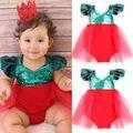 Bebê Recém-nascido Menina infantil Bebes Bodysuit Vermelho Verde Tulle Tutu Contornou Bodysuits Corpo Sunsuit Xmas Outfits Roupas