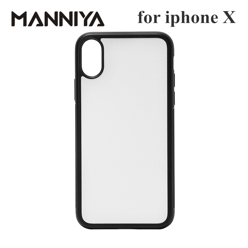 MANNIYA 2D Sublimation Blank rubber phone Case for iphone X XS with Aluminum Inserts and glue