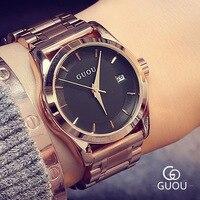 Venta caliente Hardlex GUOU de Lujo Completa de Acero Inoxidable de Oro Rosa Relojes de pulsera de Cuarzo Reloj de Pulsera para Señoras de Las Mujeres 8055