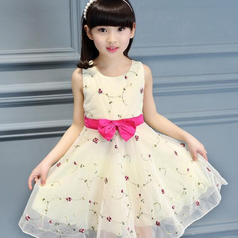 Kids girls floral party dresses sleeveless children bow pricess veil dress summer baby clothing
