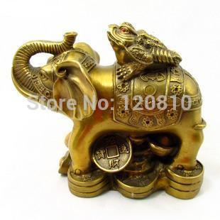 Copper elephant ornaments back toad crafts knickknacks Lucky town house prosperous career|Statues & Sculptures|Home & Garden - title=