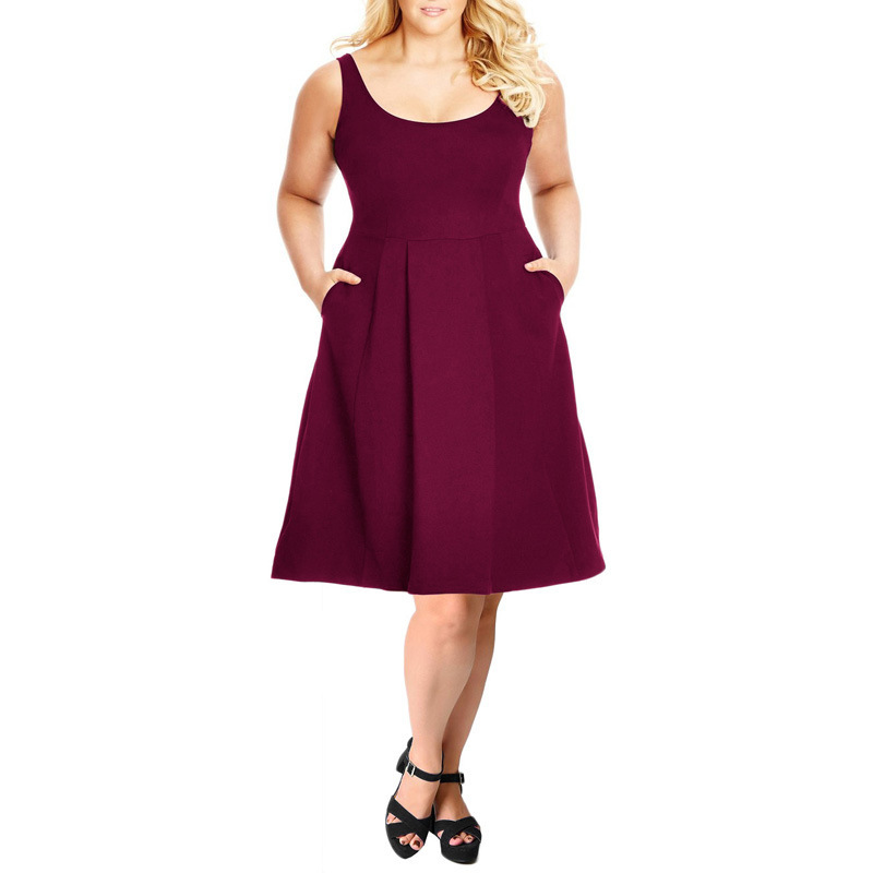 Summer Beach Dress Women Backless Elegant Dress Sleeveless A Line Party Dress Burgundy Vestidos Mujer Clothes 2019 Fit And Flare in Dresses from Women 39 s Clothing