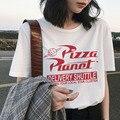 Женская летняя футболка с коротким рукавом и изображением планеты пиццы