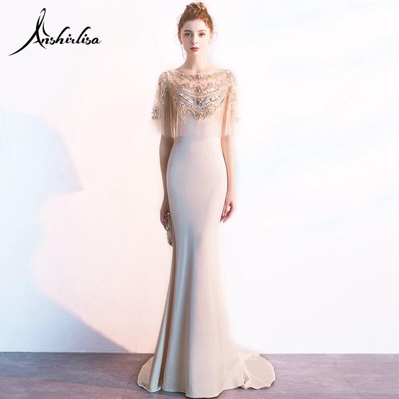 Anshirlisa Femmes de Longue Robe De Soirée Dos Nu Magnifique De Luxe Perles Cape Élégante Sirène Formelle Partie De Bal Gala Robe robe