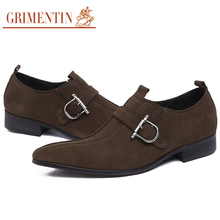 GRIMENTIN Italian luxury nubuck men's shoes suede genuine leather with buckle strap elegent business casual shoes men flats