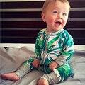 Nueva Ropa Del Bebé Infantil de La Muchacha Niños Ropa de hojas De Bambú de Impresión de La Moda de Primavera Ropa Niños de Manga Larga Mamelucos Mono Del Equipo