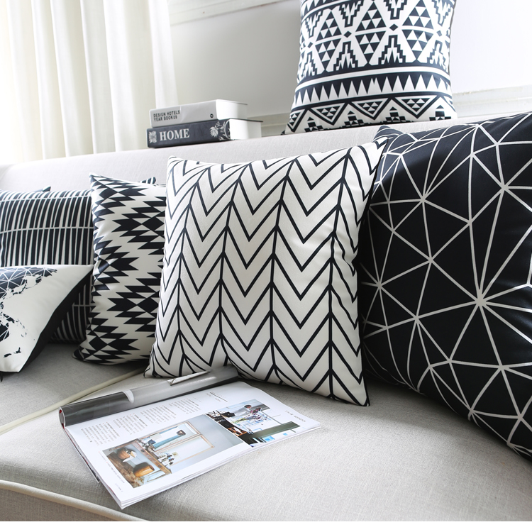 modern black and white kids cushion covers geometric triangles stripes rug pattern pillow cover. Black Bedroom Furniture Sets. Home Design Ideas