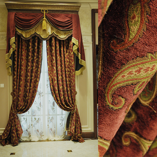2017 Deluxe Small Paisley Design Wine Jacquard Chenille Home Curtain Interior  Fabric 280cm Width