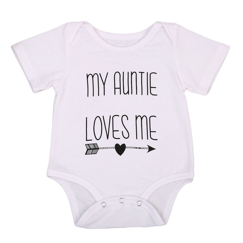 2017 Baby Summer Romper Short Sleeve Auntie Loves Me Letter Printed Newborn Baby Boy Girl Jumpsuit One Pieces Clothes 0-18M baby loves