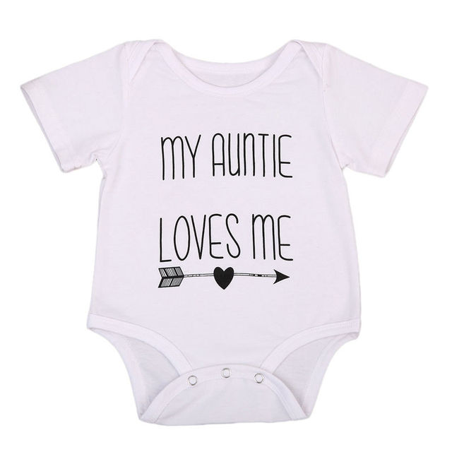6f8d827894d 2017 Baby Summer Romper Short Sleeve Auntie Loves Me Letter Printed Newborn  Baby Boy Girl Jumpsuit One Pieces Clothes 0-18M