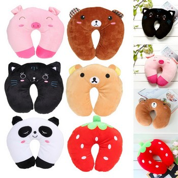 U Shaped Neck Pillow Multi-Color Cartoon Neck Headrest Soft Cushion Travel Pillow